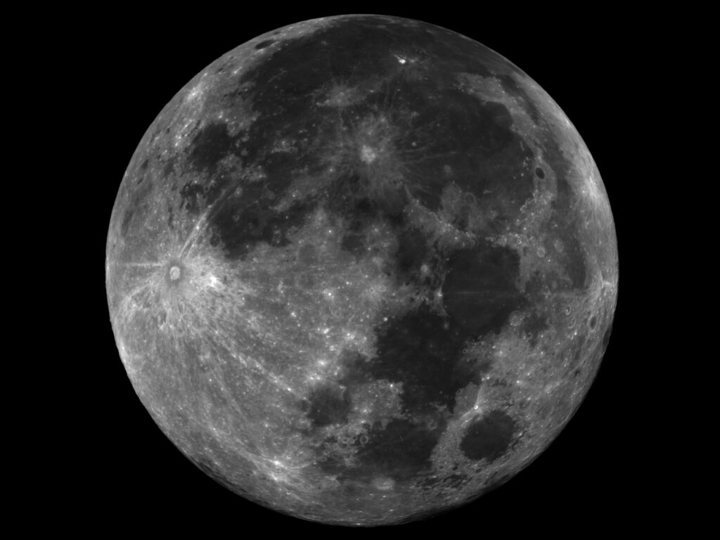 image of the full Moon showing its various craters and maria in high contrast